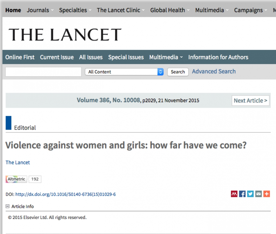 The Lancet - Violence against women and girls: how far have we come?