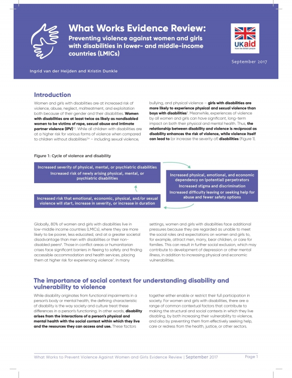 What Works Evidence Review: Preventing violence against women and girls with disabilities in lower- and middle-income countries (LMICs)