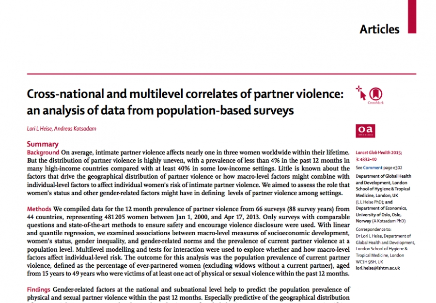 The Lancet - Cross-national and multilevel correlates of partner violence: an analysis of data from population-based surveys