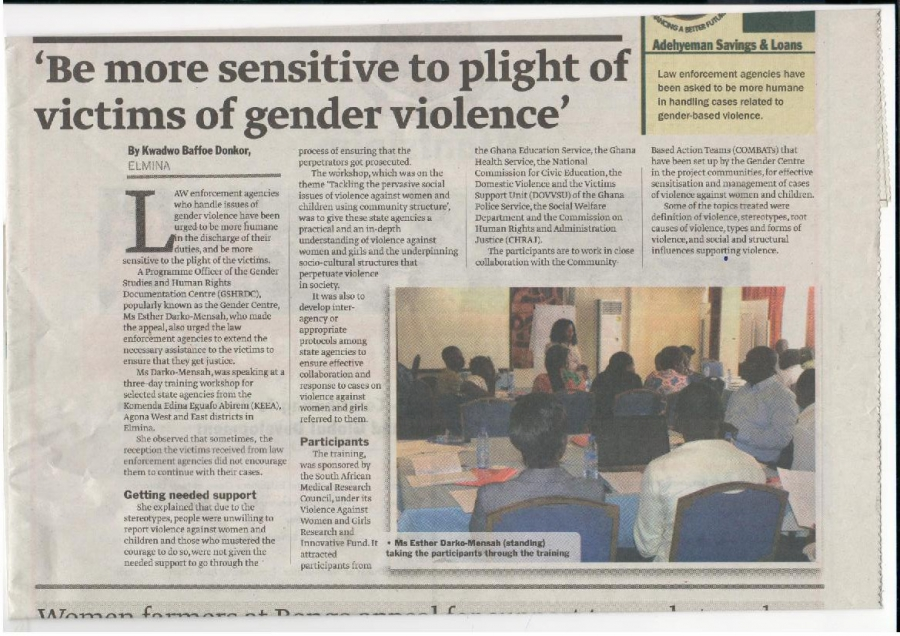 'Be more sensitive to the plight of the victims of gender based violence'
