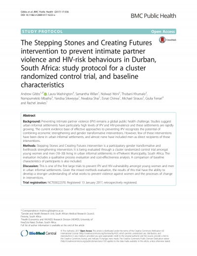 The Stepping Stones and Creating Futures intervention to prevent initimate partner violence and HIV-risk behaviours in Durban, South Africa: study protocol for a cluster randomized control trial, and baseline characteristics