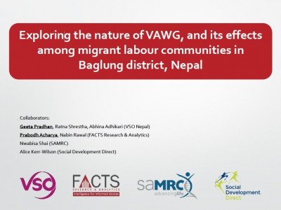 Exploring the nature of VAWG, and its effects among migrant labour communities in Baglung district, Nepal