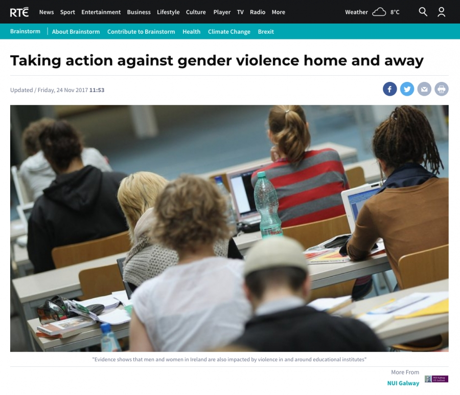 Stacey Striver from NUI Galway for opinion in RTE on taking action against gender violence home and away
