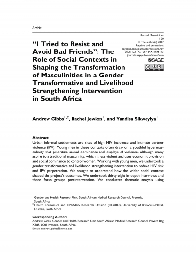 """I Tried to Resist and Avoid Bad Friends"": The Role of Social Contexts in Shaping the Transformation of Masculinities in a Gender Transformative and Livelihood Strengthening Intervention in South Africa"