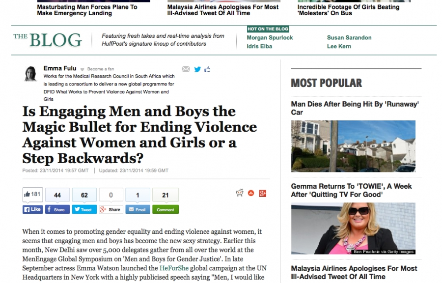 The Huffington Post – Is Engaging Men and Boys the Magic Bullet for Ending Violence Against Women and Girls or a Step Backwards