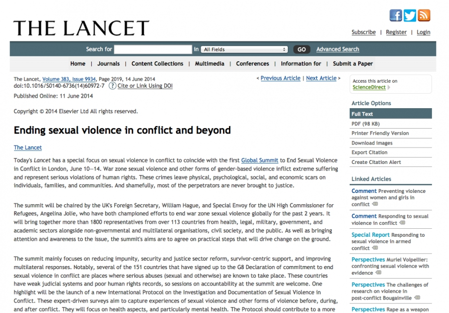 The Lancet - Ending sexual violence in conflict and beyond special focus issue