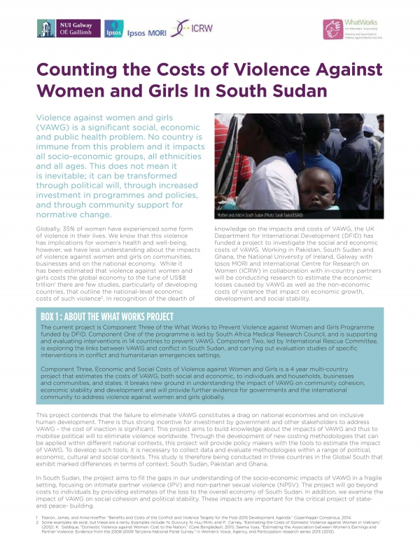 Counting the Costs of Violence Against Women and Girls in South Sudan