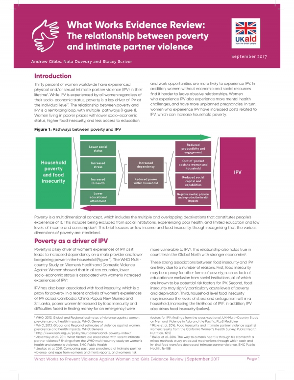 What Works Evidence Review: The relationship between poverty and intimate partner violence