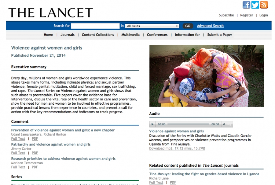 The Lancet – Special series on violence against women and girls