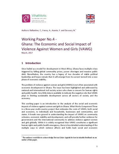 Working Paper No.4 - Ghana: The Economic and Social Impact of Violence Against Women and Girls (VAWG)