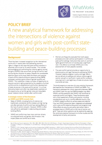 A new analytical framework for addressing the intersections of violence against women and girls with post-conflict statebuilding and peace-building processes
