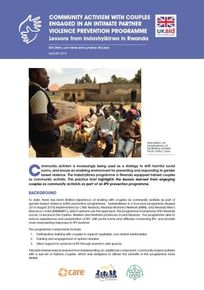 Community Activism With Couples Engaged in Intimate Partner Violence Prevention Programme – Lessons Learned From Indashyikrwa in Rwanda