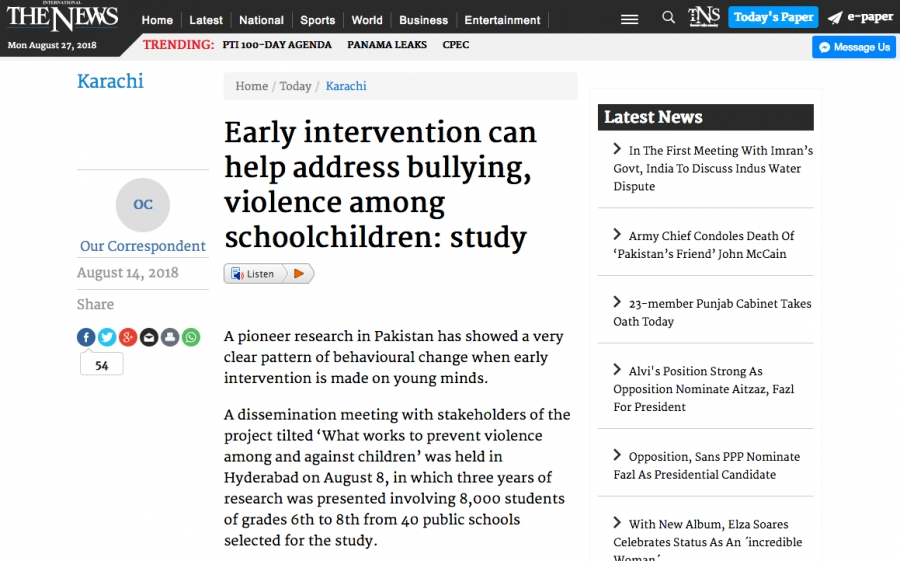 Early intervention can help address bullying, violence among schoolchildren: study