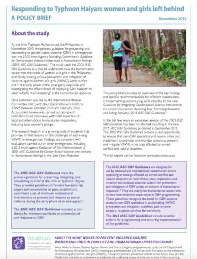Policy Brief: Responding to Typhoon Haiyan