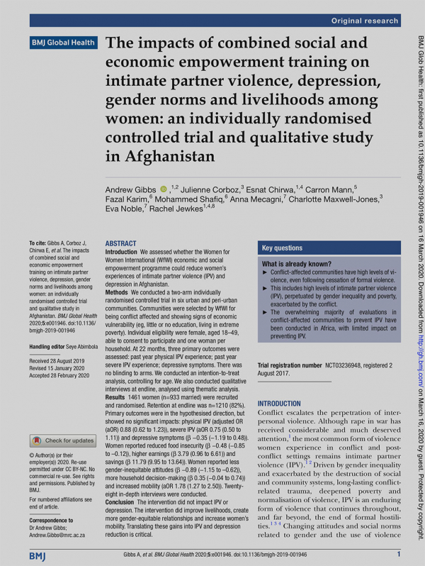 The impacts of combined social and economic empowerment training on intimate partner violence, depression, gender norms and livelihoods among women: an individually randomised controlled trial and qualitative study in Afghanistan