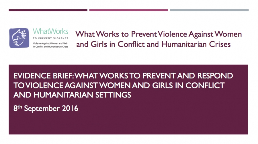 Evidence Brief: What Works To prevent and respond to violence against women and girls in conflict and humanitarian settings