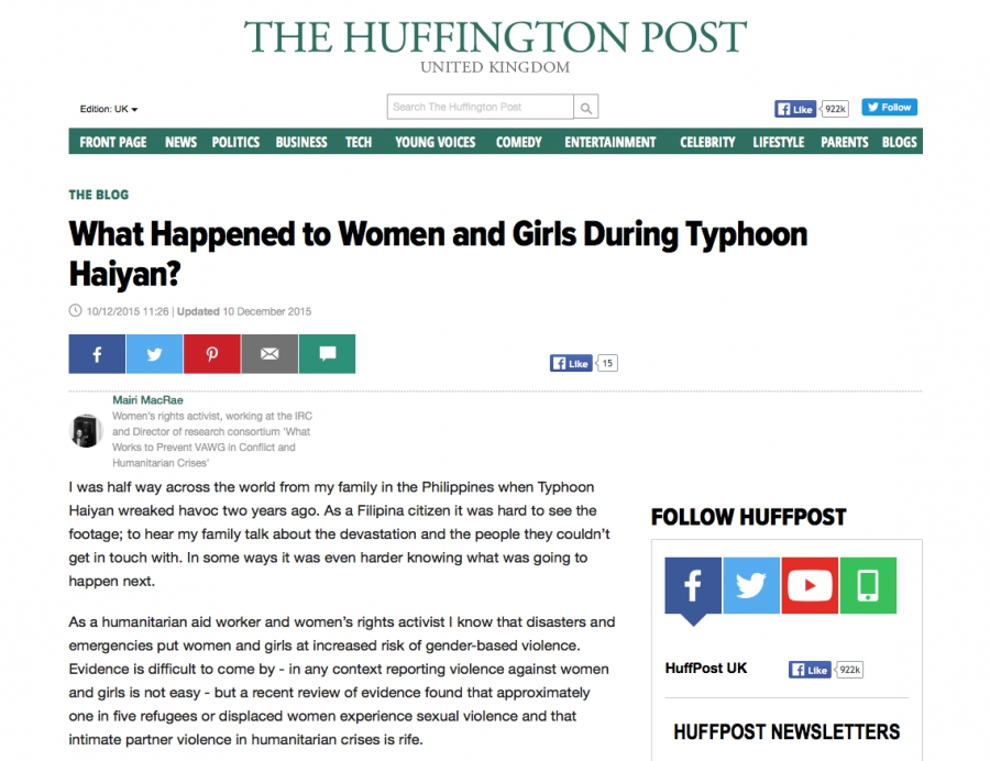 The Huffington Post - What Happened to Women and Girls During Typhoon Haiyan?