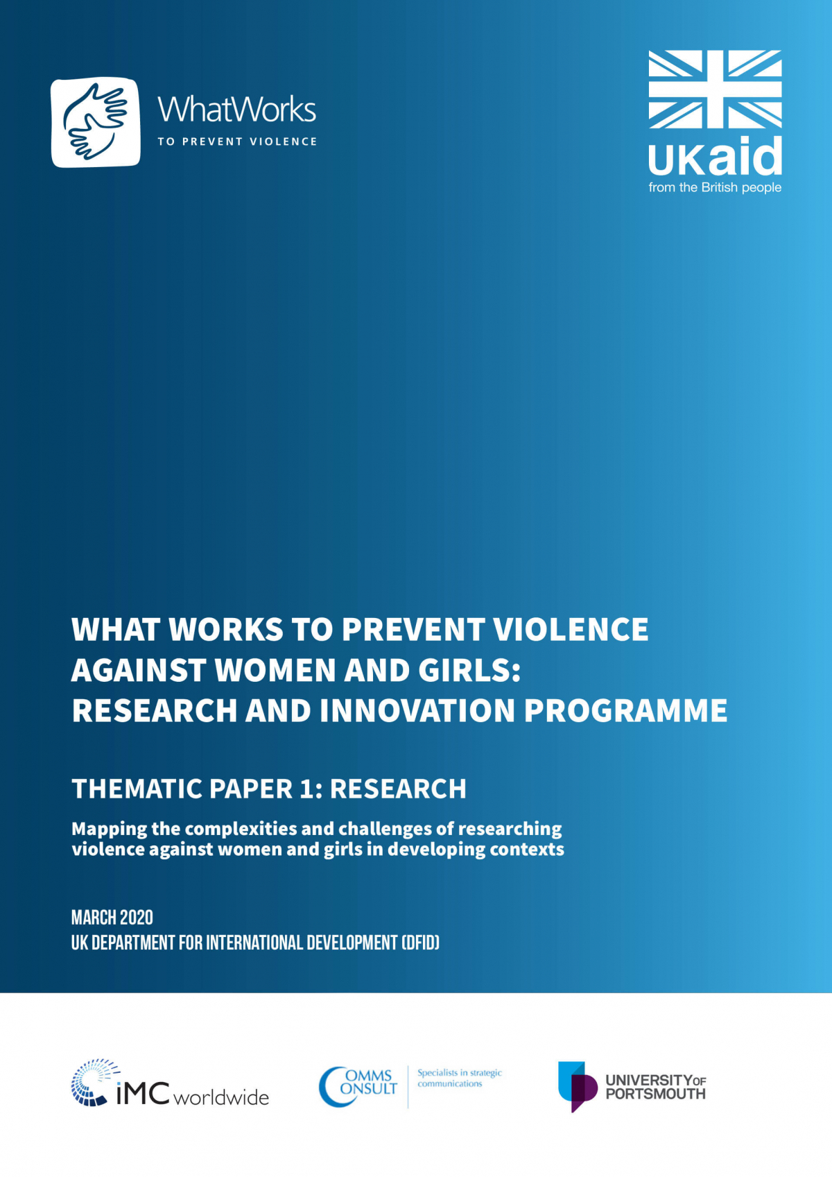 What Works to Prevent VAWG: Research and Innovation Programme - Thematic Paper 1: Research