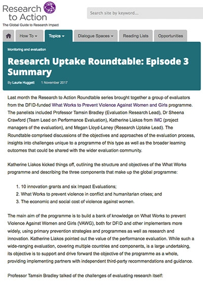 Research Uptake Roundtable: Episode 3 Summary