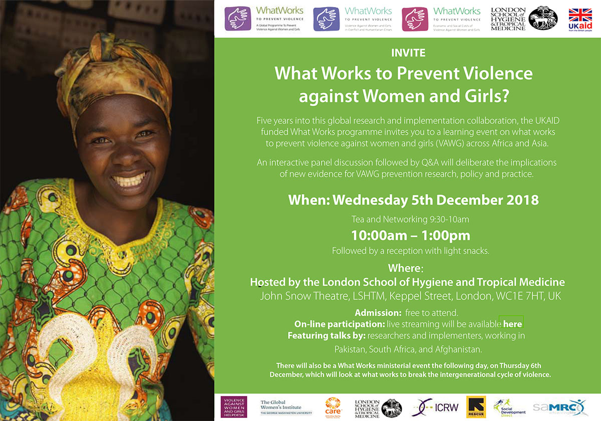 EVENT: What Works to Prevent Violence against Women and Girls?