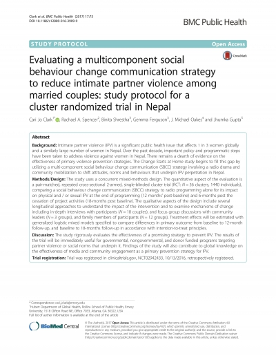 Evaluating a multicomponent social behaviour change communication strategy to reduce intimate partner violence among married couples: study protocol for a cluster randomized trial in Nepal
