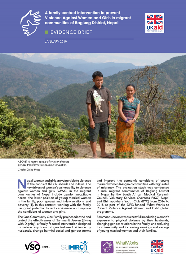 A family-centred intervention to prevent Violence Against Women and Girls in migrant communities of Baglung District, Nepal