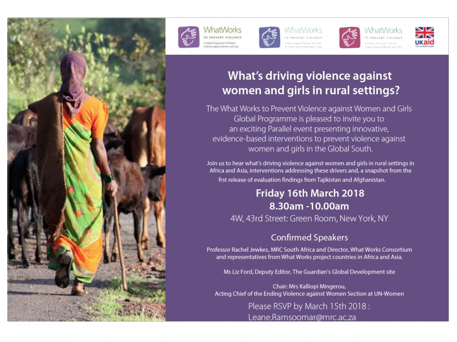EVENT: What's driving violence against women and girls in rural settings?