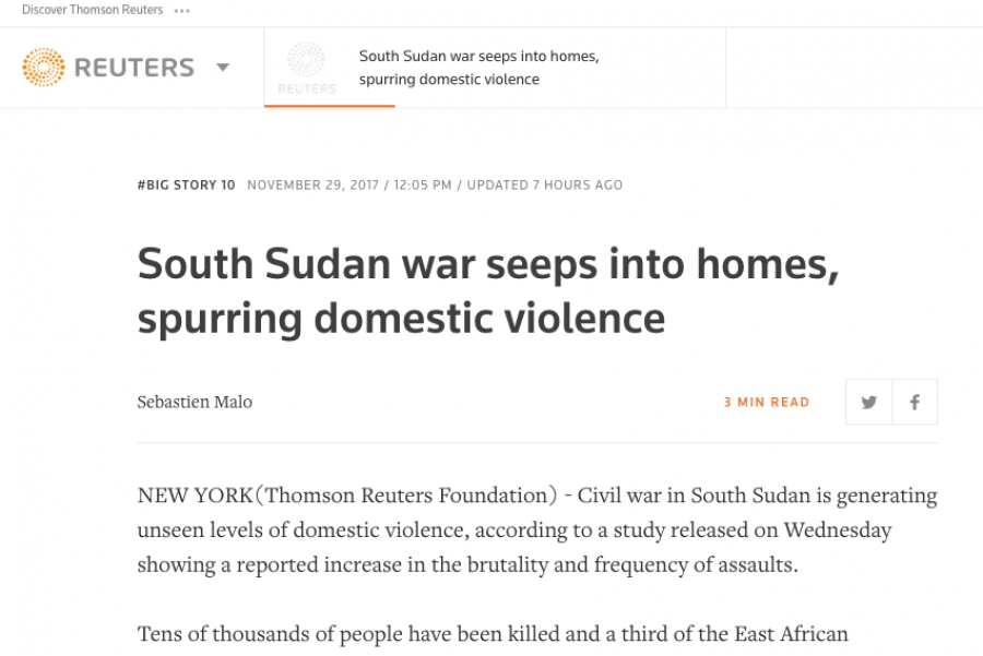 South Sudan war seeps into homes, spurring domestic violence