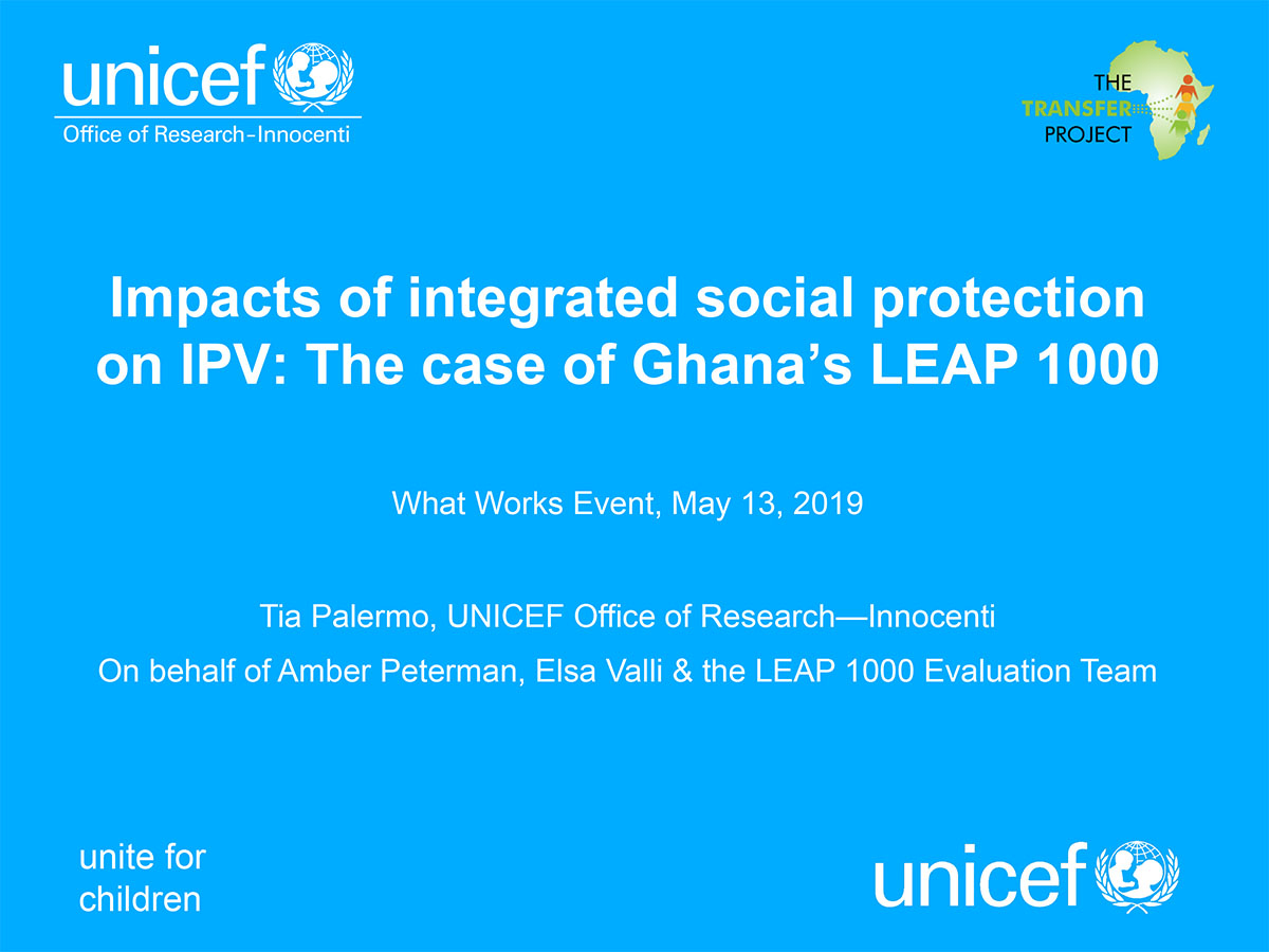 Impacts of integrated social protection on IPV: The case of Ghana's LEAP 1000