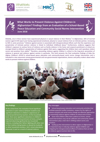 What Works to Prevent Violence Against Children in Afghanistan? Findings from an Evaluation of a School-Based Peace Education and Community Social Norms Intervention