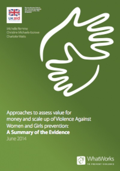 Approaches to assess value for money and scale up of Violence Against Women and Girls prevention