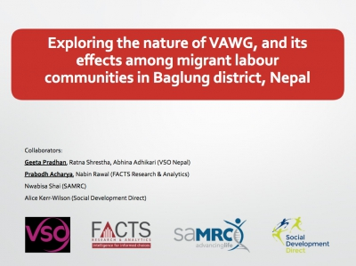 Exploring the nature of VAWG, and its effects among migrant labour communities in Baglung district, Nepal - One Community, One Family, VSO Nepal