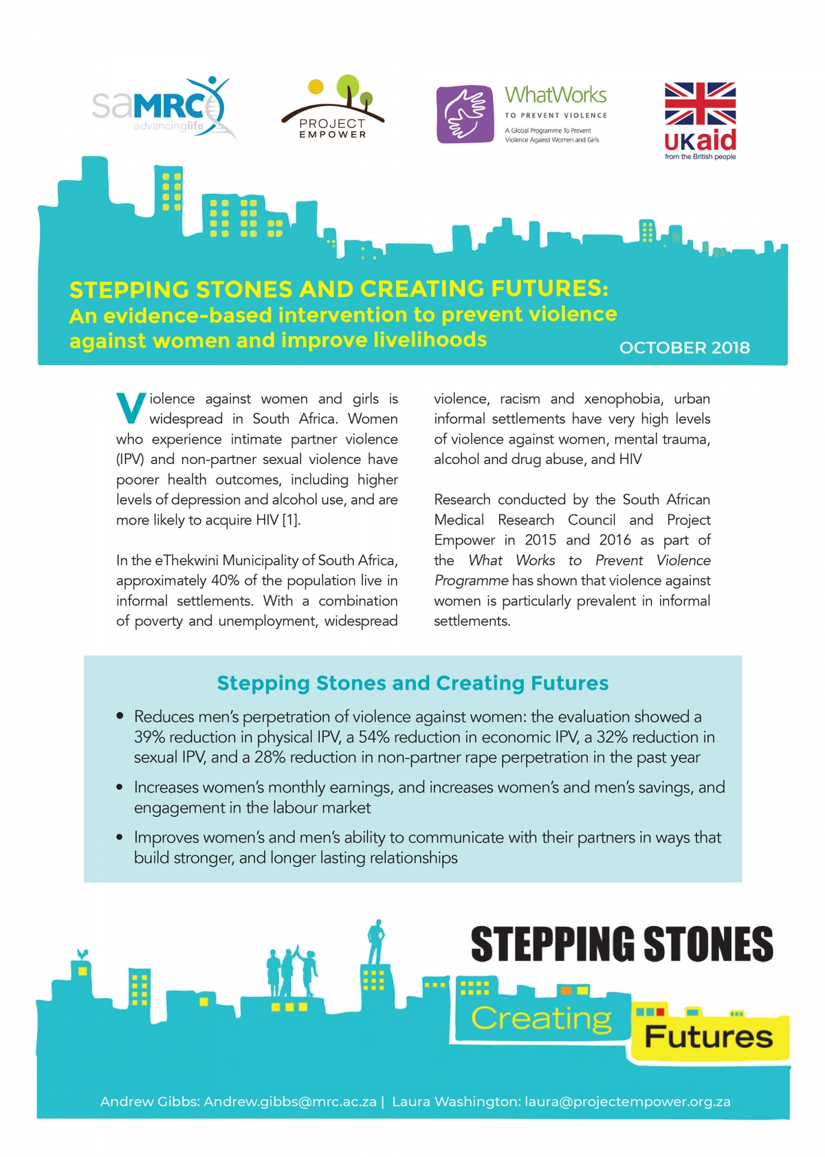 Stepping Stones and Creating Futures - An evidence-based intervention to prevent violence against women and improve livelihoods