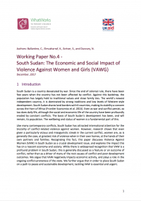 Working Paper No.4 - South Sudan: The Economic and Social Impact of Violence Against Women and Girls (VAWG)