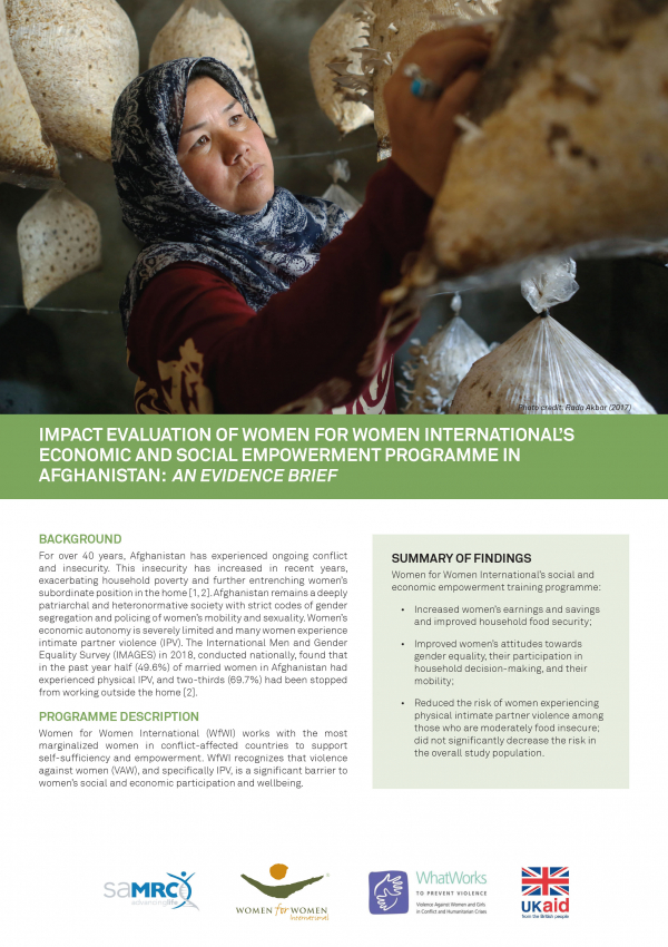 Impact Evaluation of Women for Women International's Economic and Social Empowerment Programme in Afghanistan: An Evidence Brief