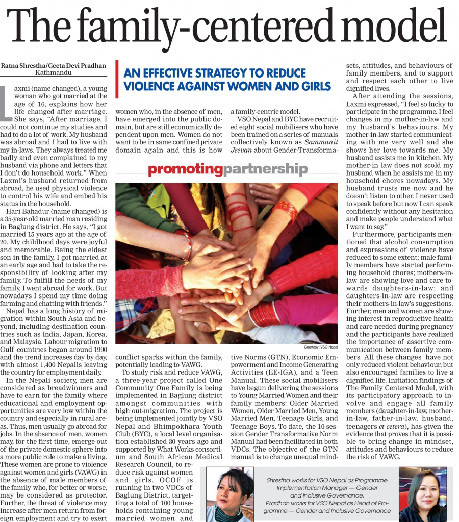 One Community, One Family Project featured in the Himalayan Times Newspaper