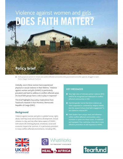 Baseline Research Report in Ituri Province, DRC written by Tearfund