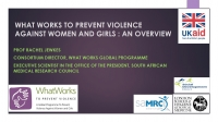 What Works to Prevent Violence Against Women and Girls: An Overview